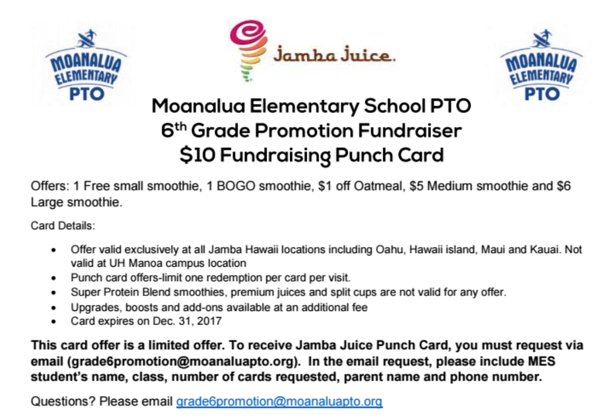 6th Grade Promotion Fundraiser Jamba Juice 10 Punch Cards Available Moanalua Elementary