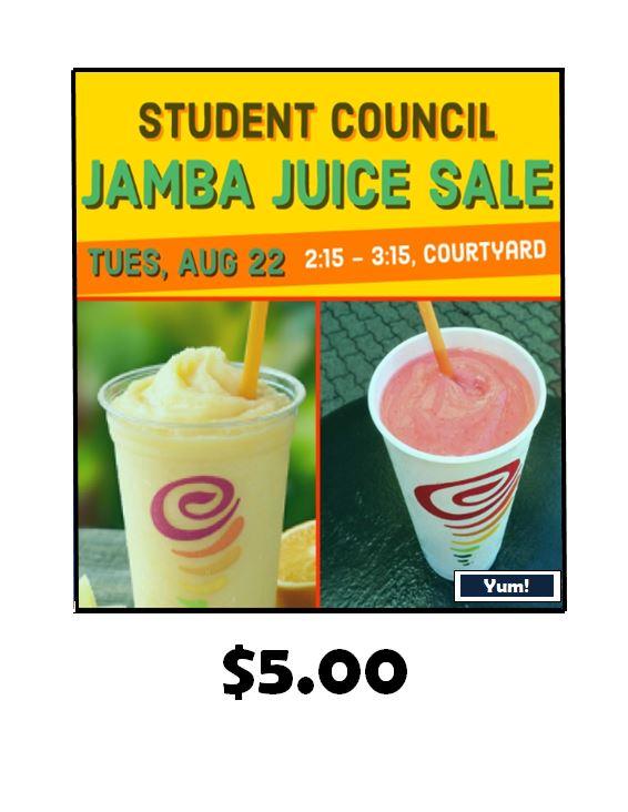 Student Council Jamba Juice Sale August 22th Moanalua