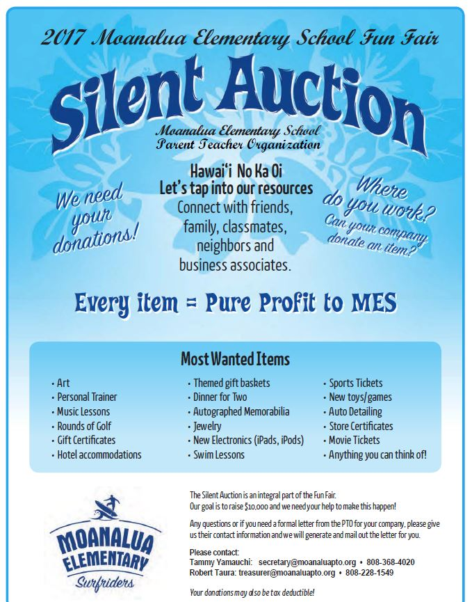 silent auction donations needed   u2013 moanalua elementary