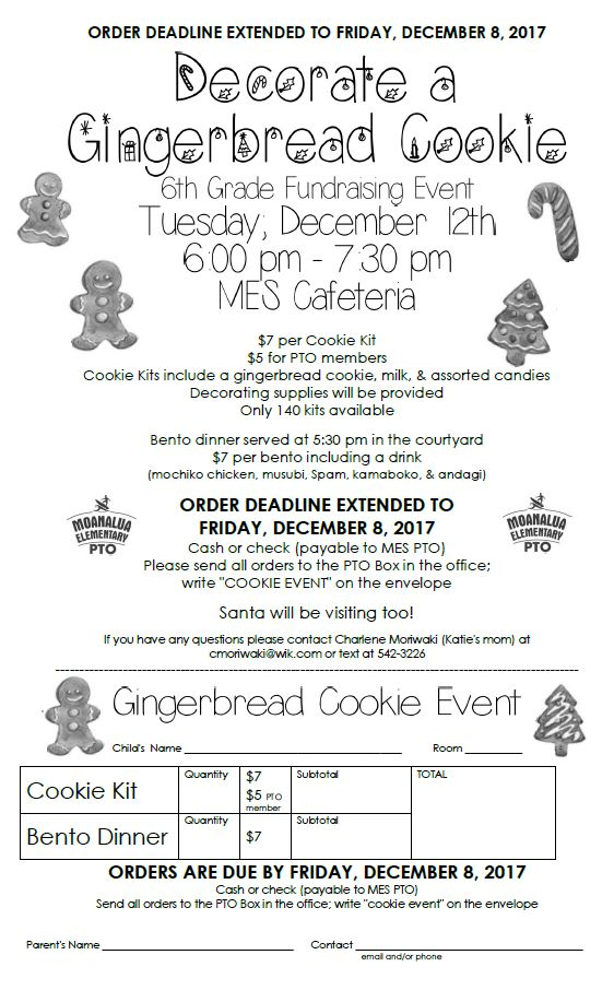 6th Grade Cookie Fundraising Event Registration Extended