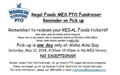 Reminder Regal Bakery Pick Up At Aloha Aina Day On May