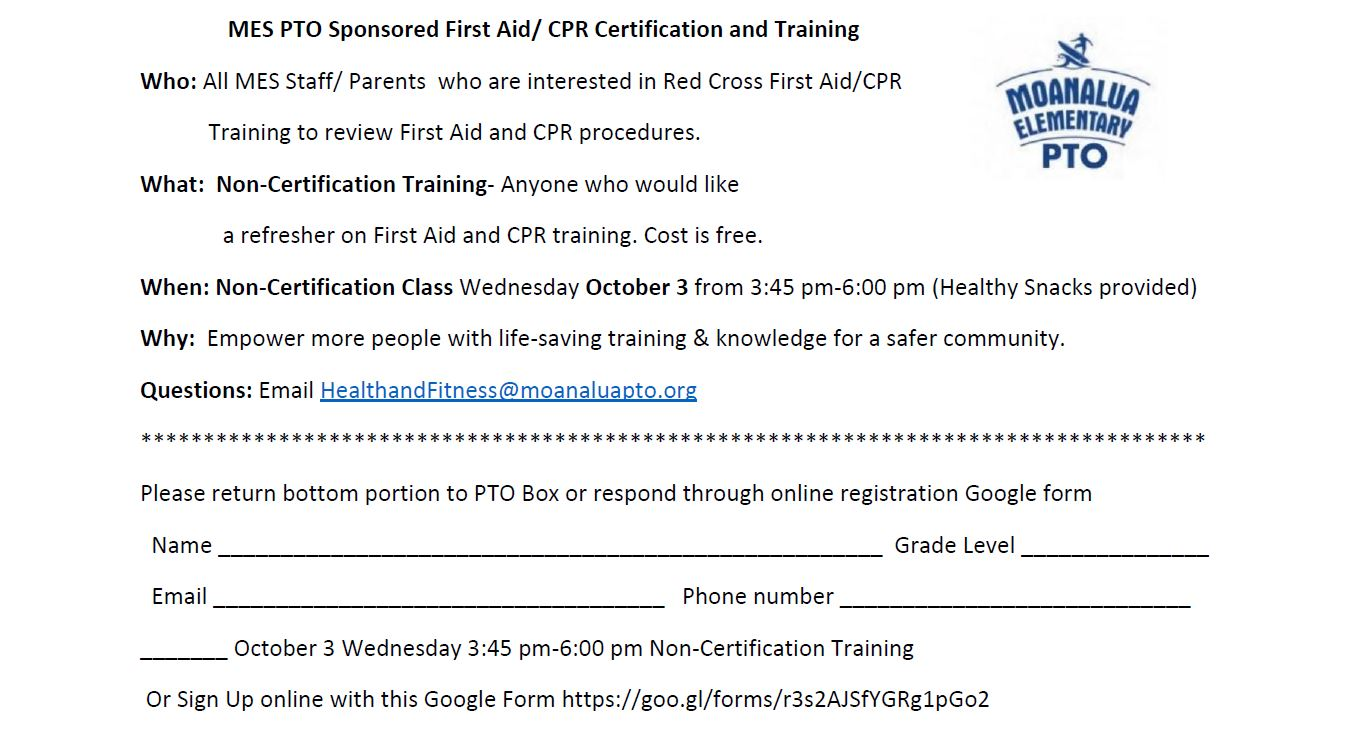 Mes Pto Sponsored First Aid Cpr Certification And Training Oct