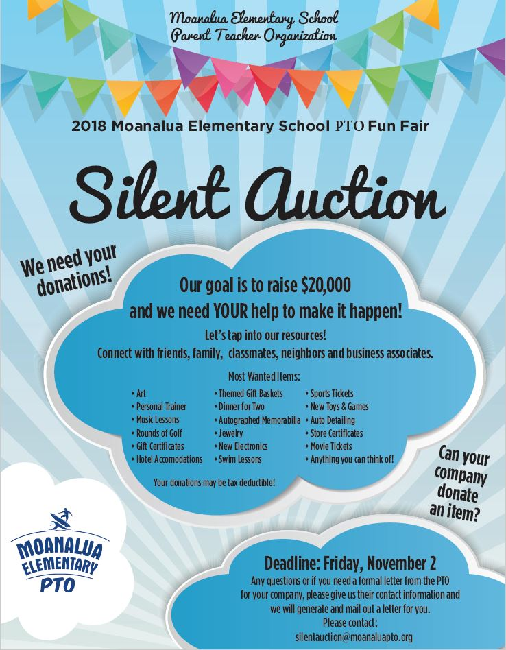 Silent Auction Donations Needed! – Moanalua Elementary School PTO