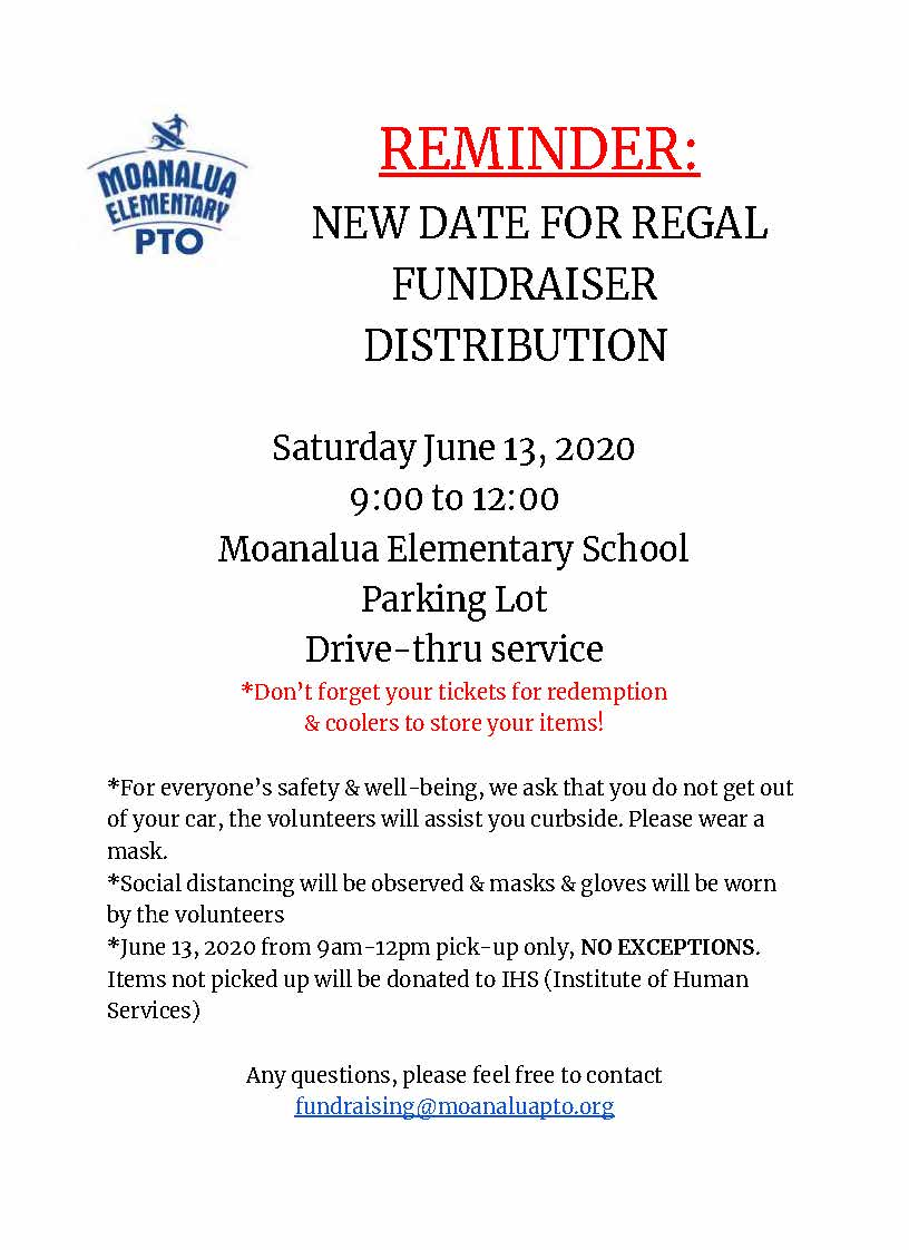 REGAL FUNDRAISER DISTRIBUTION REMINDER